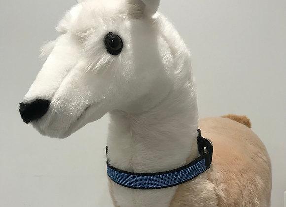 Dog Collar, Nylon, Black, Navy Blue Swarovski Crystal Trim