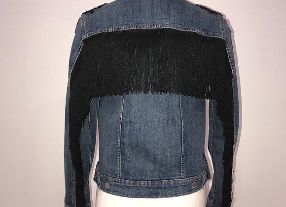 Ladies Blue Denim Jacket black fringe & lace