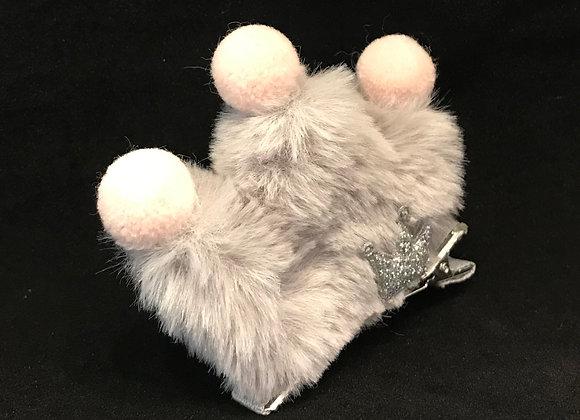 Hair Clip, Crown, Gray Faux Fur Puff, Pom