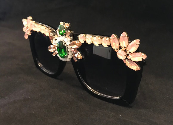 Sunglasses, Black Frame, Bumble Bee, Pink/White/Emerald Green Crystals