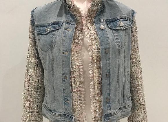 L/S Lt Blue Denim Jacket, Tweed sleeves/lining/numbers, pearls