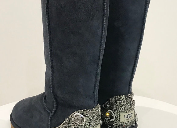Ugg Boots, Navy Blue, Swarovski Crystals/Jewels