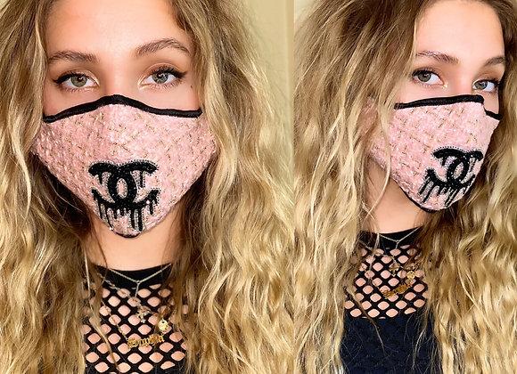 CHANEL Tweed Pink/Gold, Swarovski Crystals, GLAMical face mask