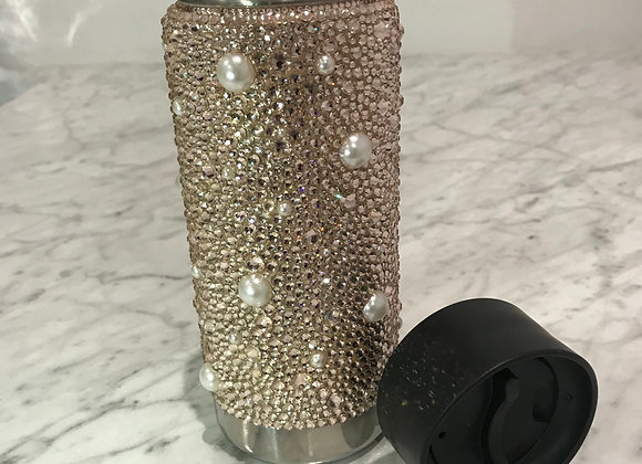 PRETTY AS PEARLS, Coated Stainless Steel Thermos, Pearls & Swarovski Crystals