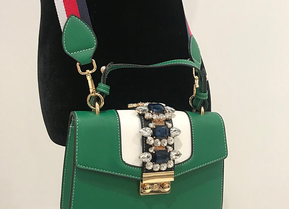 Purse, Gucci inspired, green/white/navy