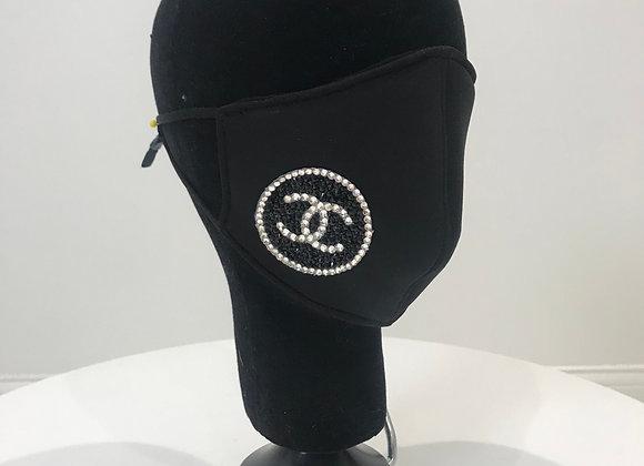 CHANEL, Neo Prene, (L) Round logo-1 side, Swarovski Crystals, GLAMical face mask