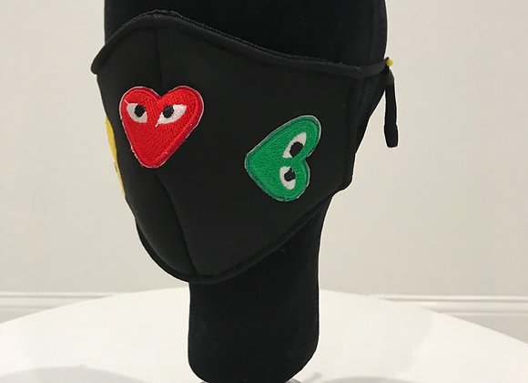 Comme De Garcon, 3 Hearts, Black Neo Prene, GLAMical face mask