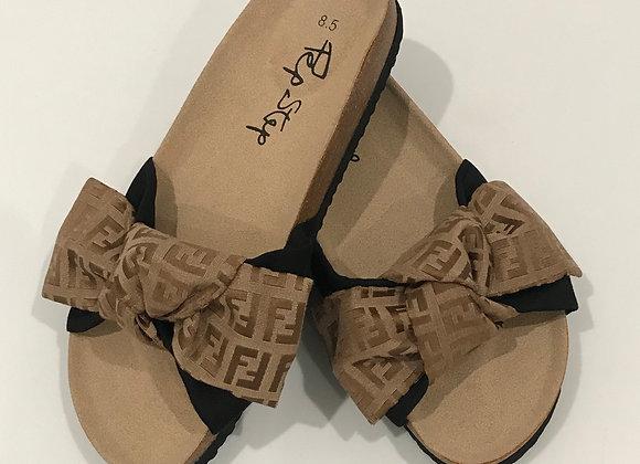 Pep Step, Memory Foam Slides Sandal, Fendi Detail, Lt Brown Brocade, Bow Knot