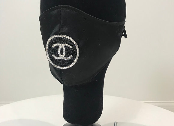 CHANEL, Black Satin, (L)Round logo-Center, Swarovski Crystal, GLAMical face mask