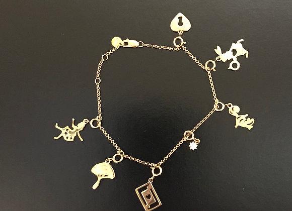 Bracelet, Gold, Charm - Alice In Wonderland