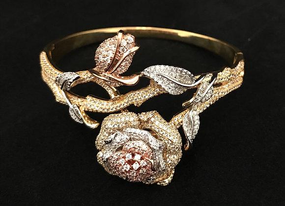 Bracelet & Ring Set, Floral, Rose Gold