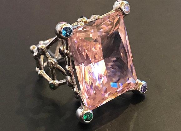 Ring, Moissanite Gemstone, Pink Large Square