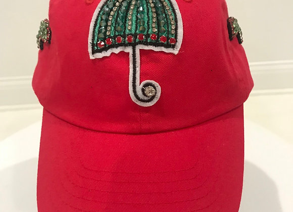 Umbrella Lightening  Bolts, Red Twill, Baseball Hat, Swarovski Crystals