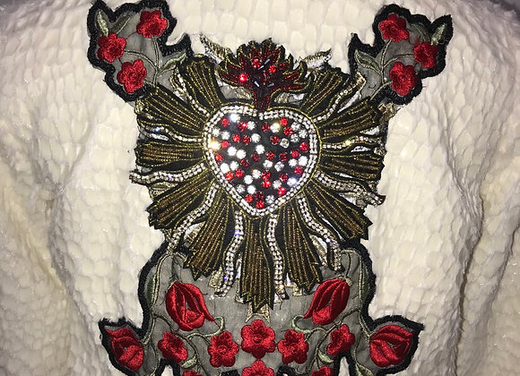L/S Feather Bomber Jacket, D & G heart & red flower rhinestone patches
