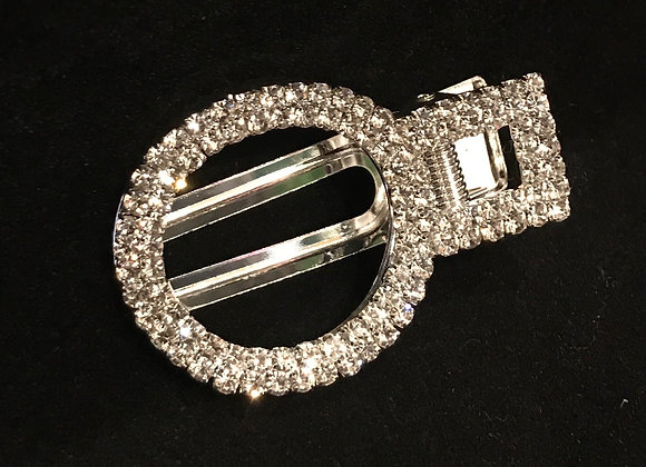 Hair Clip, Circle, Silver, Clear Crystals