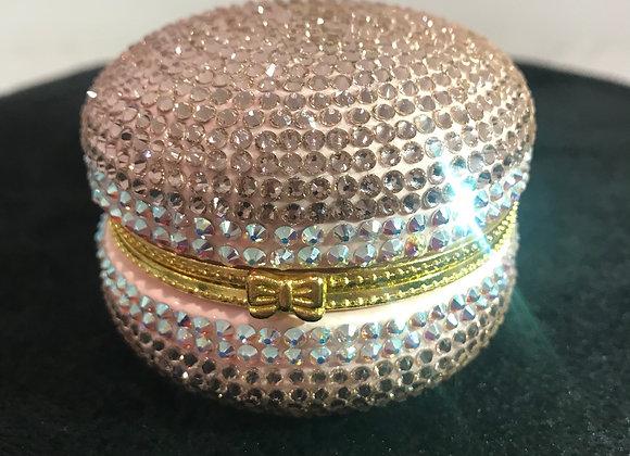PILL CASE, Macaroon, Ceramic, Lt Pink/White, Swarovski Crystals