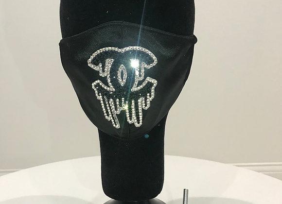 CHANEL, Black Satin, (L)Drip logo, Swarovski Crystals, GLAMical face mask
