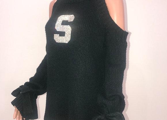MICHIGAN STATE, L/S Sleeve Cold Shoulder Sweater, Swarovski Crystal