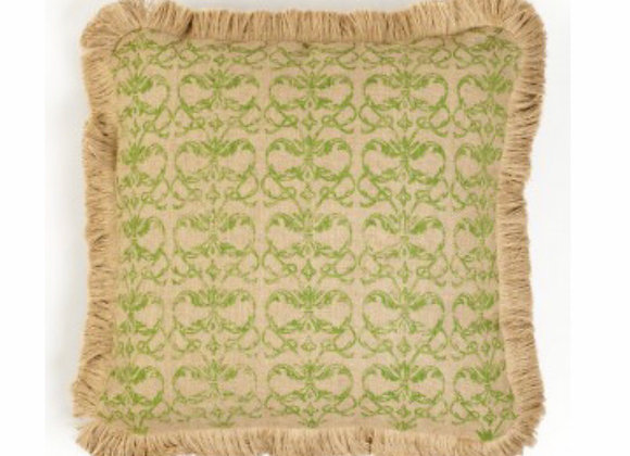 Decorative Throw Pillow, Damask Burlap, Fringe