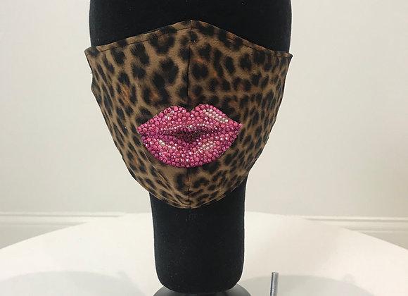 Leopard w/ swarovski crystal lips, GLAMical face mask