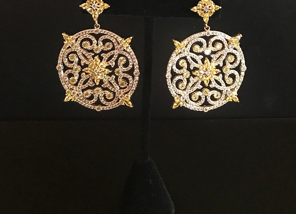 Earrings, Pierced, Round Scroll Dangle,  Cubic Zirconia - Clear/Yellow, 18K