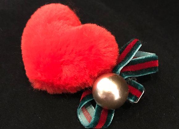 Hair Clip, Heart, Red Faux Fur Puff, Pearl, Velvet Bow