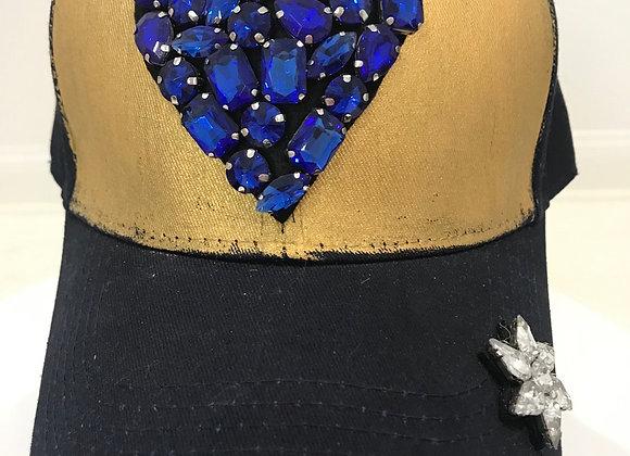 Blue Heart GO BLUE, Blue Twill, Baseball Hat, Swarovski Crystals & Rhinestones
