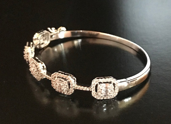 Bracelet, Bangle, Cubic Zirconia, 5 Squares