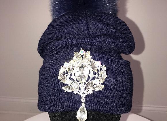 Winter Hat, Blue,blue fox fur pom