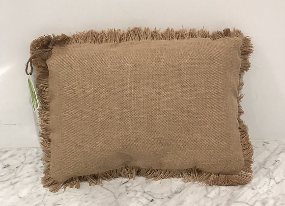 Decorative Throw Pillow, Burlap, Fringe
