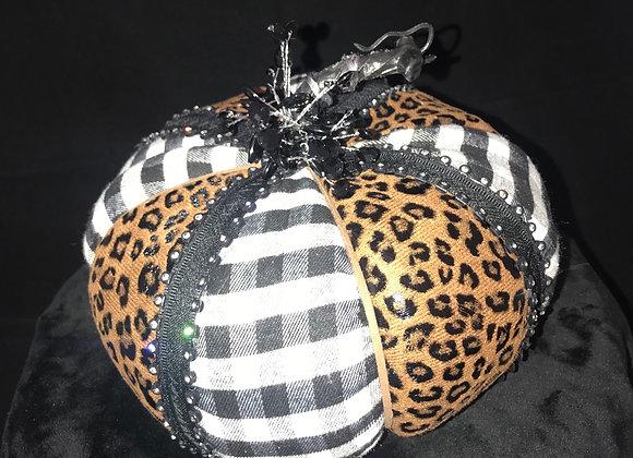 Pumpkin, Black & White Check/Leopard, Clear Crystal Black Bezel Trim