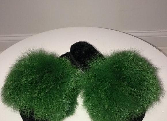 Ladies, Grass Green, Genuine Fox Fur Slippers