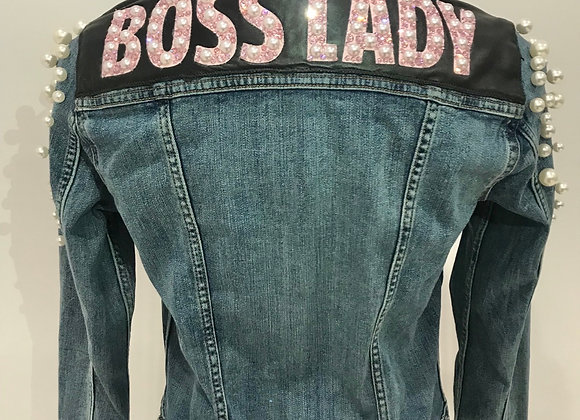 BOSS LADY, L/S Blue Denim Jacket, Leather, pearls, Swarovski Crystals