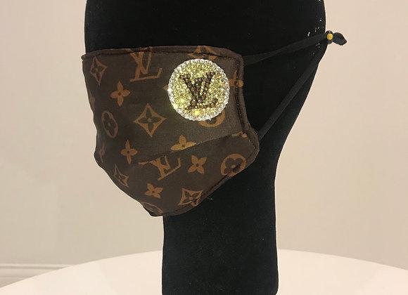 LOUIS VUITTON, Silk, Brown pattern, Swarovski Crystals, GLAMical face mask