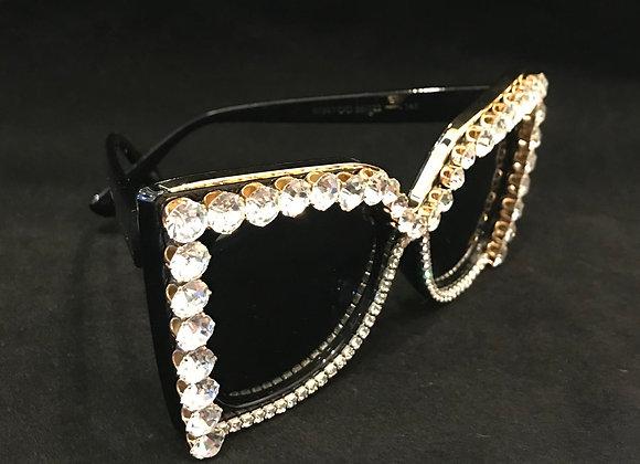 Sunglasses, Black Frame, Clear Crystals & Rhinestones
