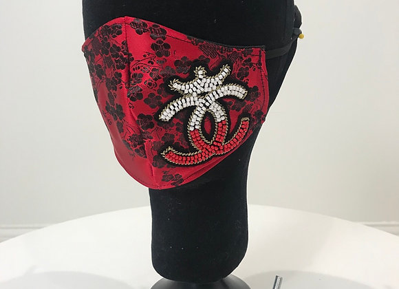 CHANEL, CC beaded patch, Red Black Floral Satin, GLAMical face mask