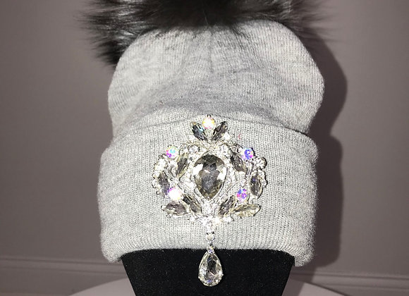 Winter Hat, Gray, Dark Gray fox fur pom