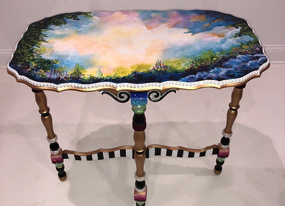 HEAVEN, Antique Table, Hand Painted, Crystals & Pearls