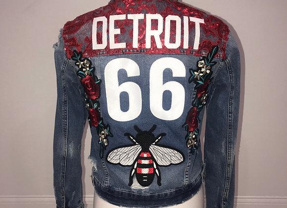 Ladies Blue Denim Jacket DETROIT 66 Dolce Inspired Bumble Bee