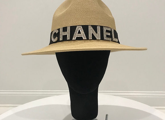 Fedora Hat, Creme Straw, Chanel, Silver Crystal Letters