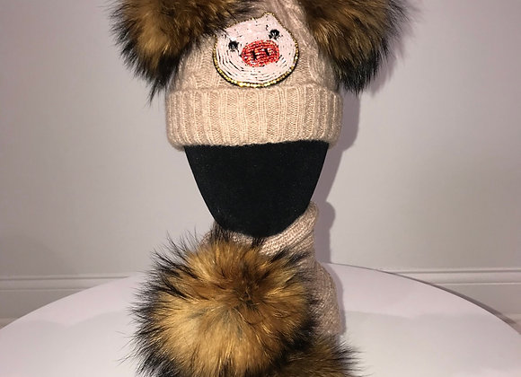 Winter Hat & Scarf Set, Beige, fox fur pom, LITTLE PIGGY