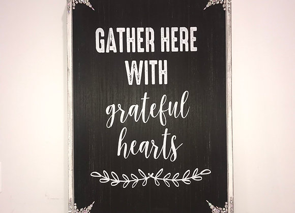 """""""Gather Here With Grateful Hearts"""" Wall Art, Wood, Swarovski Crystals"""