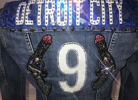 Ladies Blue Denim Levi's Jacket DETROIT CITY