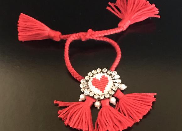 Bracelet, Heart, Red