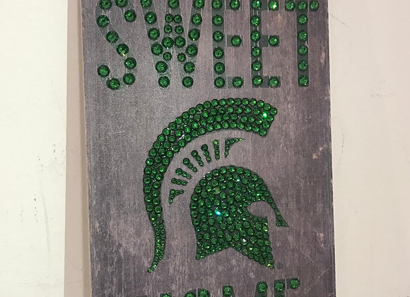 """HOME SWEET HOME"" Michigan State Spartans. Wall Art, Wood, Swarovski Crystals"