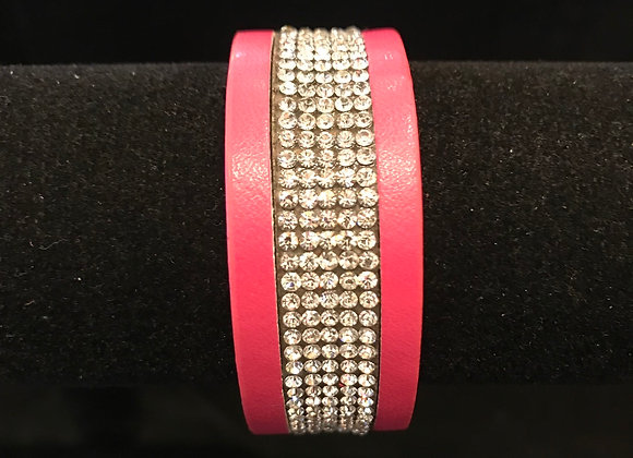 Bracelet, Leather Cuff, Dark Pink, Clear Crystals