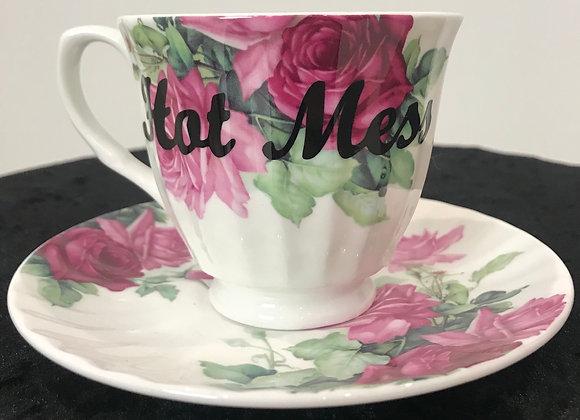 """Tea Cup & Saucer Set, """"Hot Mess"""", Bone China"""