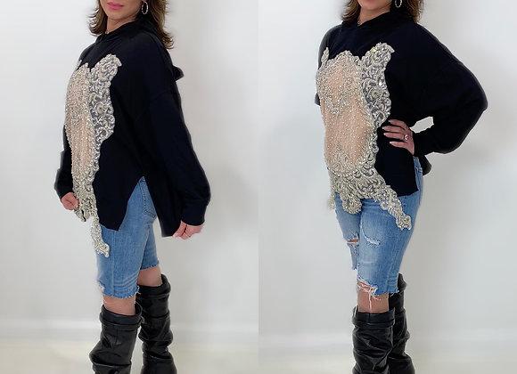Swarovski Embellished Bodice, Pullover Hoody, Black
