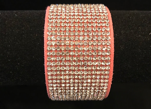 Bracelet, Leather Cuff, Pink, Clear Crystals