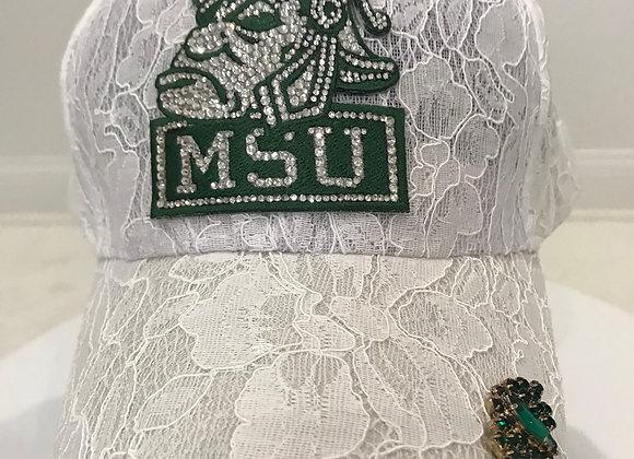 MICHIGAN STATE SPARTAN'S, Baseball Hat, White Lace, Swarovski crystals